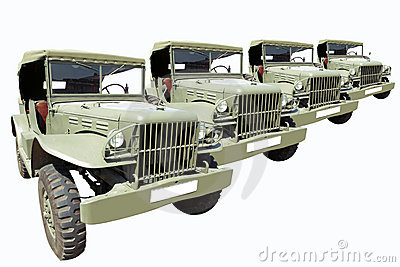 Vintage Military Cars 40 s in Row