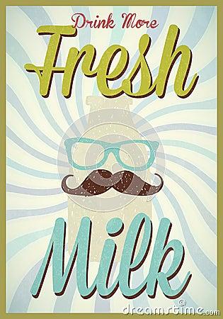 Vintage milk poster typography vector/illustration