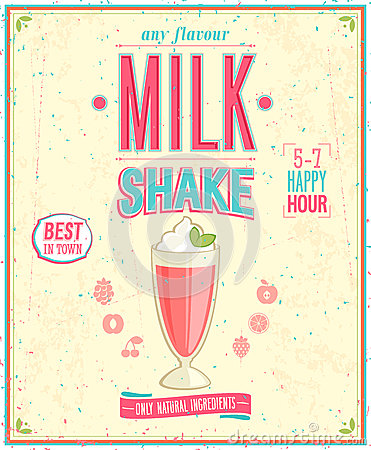 Free Vintage MilkShake Poster. Royalty Free Stock Image - 33212546