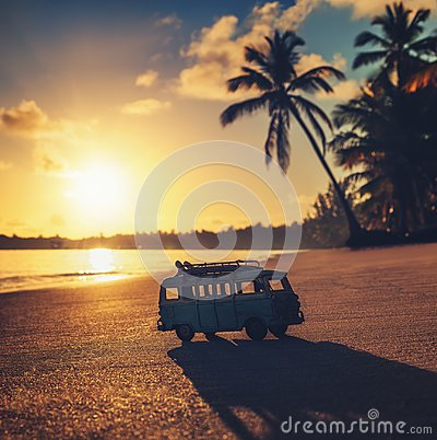 Free Vintage Miniature Van On The Tropical Beach At Sunrise Royalty Free Stock Images - 111396769