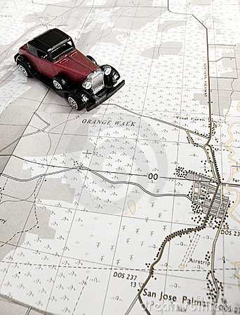 Vintage model car and map