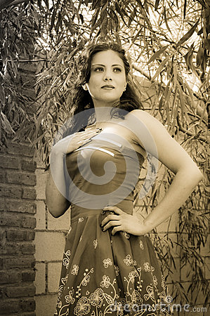 Vintage Girl in sepia