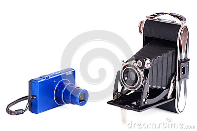 Vintage and modern photography camera