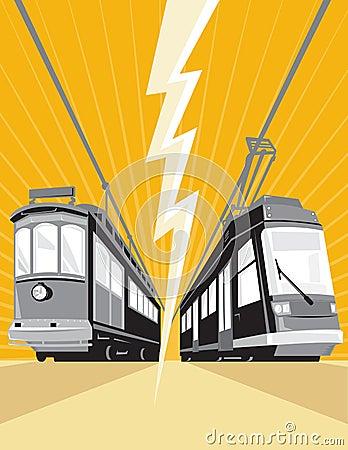 Vintage and Modern Streetcar Tram Train