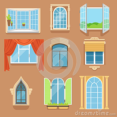 Vintage and modern windows set in different styles and forms. Window frames exterior view Vector Illustration