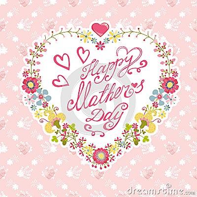 Stock Illustration Vintage Mother Day Card Floral Heart Wreath Da Flow...