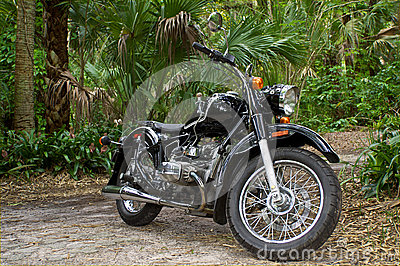 Vintage motorcycle in jungle