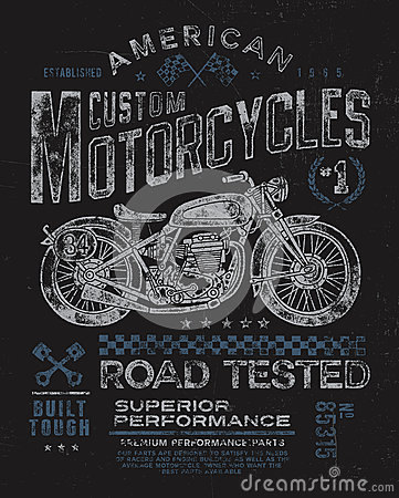 Free Vintage Motorcycle T-shirt Graphic Royalty Free Stock Photos - 38417318
