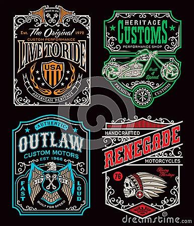 Free Vintage Motorcycle T-shirt Graphic Set Stock Photo - 69525010