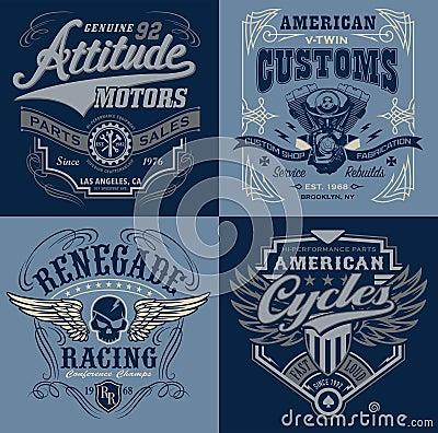 Free Vintage Motorsport Emblem T-shirt Graphics Stock Photo - 69586190