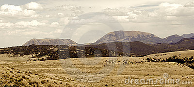 Vintage Mountain Range Panorama