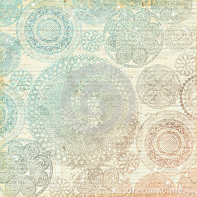 Vintage Multicolor Pastel Lace Doily Background Stock
