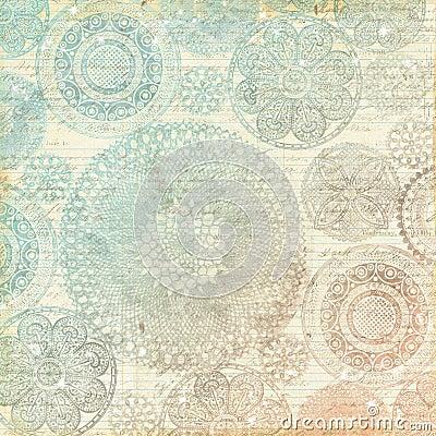 Vintage Multicolor Pastel Lace Doily Background