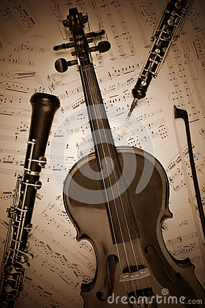 Vintage musical instruments retro