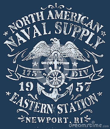 Free Vintage Nautical Design For Apparel Stock Image - 35108431