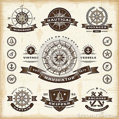 Free Vintage Nautical Labels Set Royalty Free Stock Photos - 30037698
