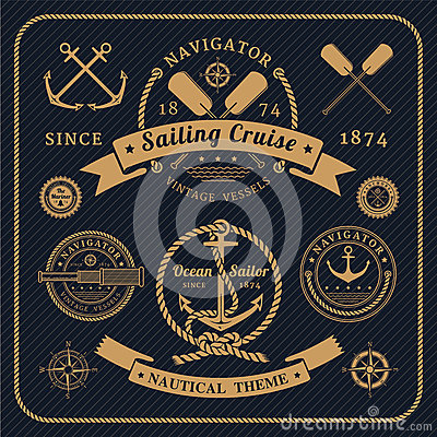 Free Vintage Nautical Labels Set On Dark Background Royalty Free Stock Images - 53685859