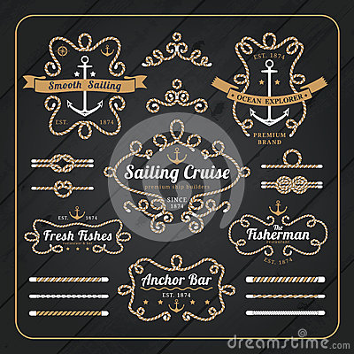 Free Vintage Nautical Rope Frame Labels Set On Dark Wood Background Royalty Free Stock Images - 57031809