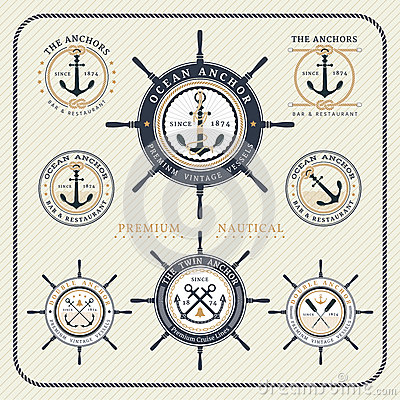 Free Vintage Nautical Steering Wheel And Anchor Labels Set Royalty Free Stock Photos - 58858038