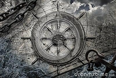 Nautical Desktop Wallpaper Vintage Navigation Background Illustration Stock Images