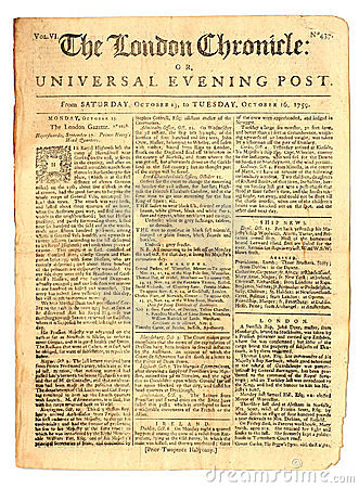 Vintage Newspaper of 1759