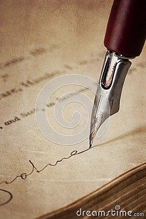 Vintage Nib Pen Signing Old Paper