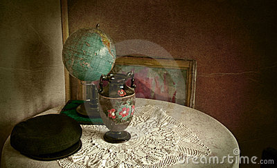 Vintage objects in grungy room