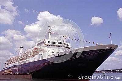 Vintage ocean liner docked in Tampa, Florida