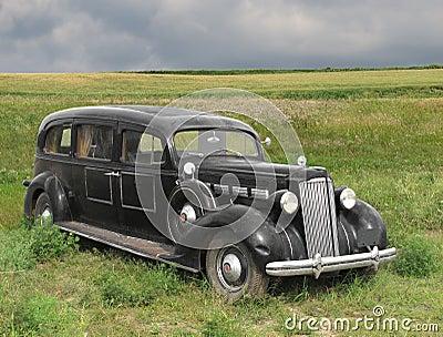 Vintage old automobile hearse.