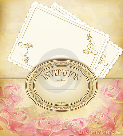 Vintage old background with roses, faded paper