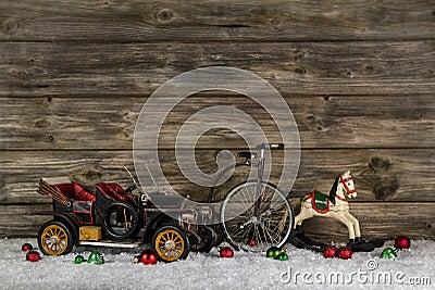 Vintage: old children toys for a christmas decoration - car, hor