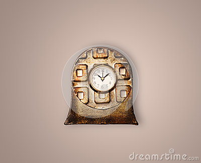 Vintage old clock with showing preicse time Stock Photo