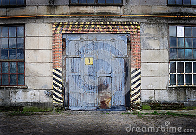 Vintage Old Factory With Closed Door Royalty Free Stock