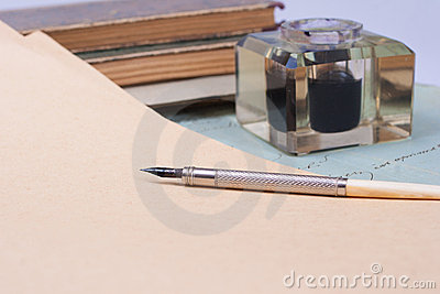 Vintage old ink pen, handwrite letters
