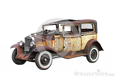 Vintage old junked car isolated.