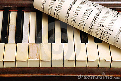 Vintage old Piano and sheet with music notes