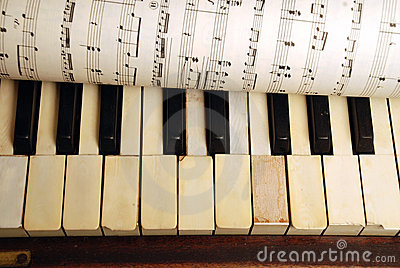Vintage old Piano and sheet of music notes