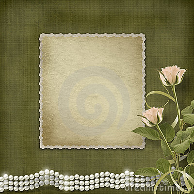 Vintage old postcard for congratulation pearls