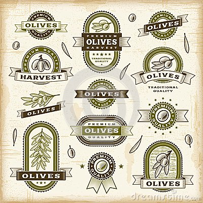 Free Vintage Olive Labels Set Stock Photo - 28619910