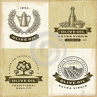 Free Vintage Olive Oil Labels Set Royalty Free Stock Image - 31767226