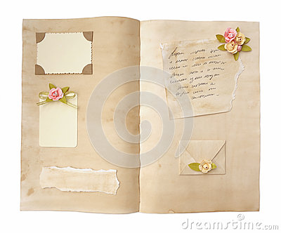 Vintage Open Diary Pages