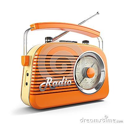 Free Vintage Orange FM Portable Radio. 3D Stock Images - 107762044