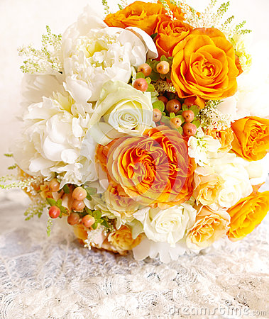Vintage orange ivory white wedding bouquet