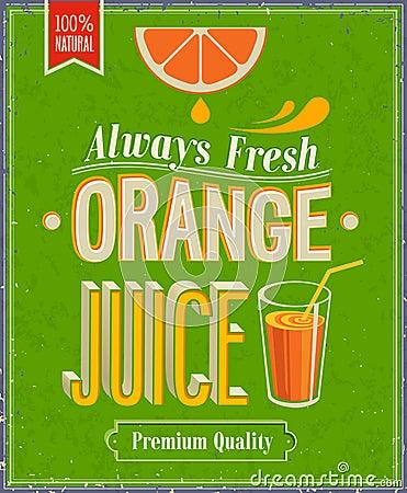 Free Vintage Orange Juice Poster. Stock Photo - 33212630