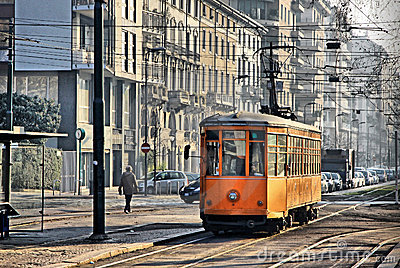 Vintage orange tram in Milan, Italy
