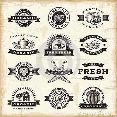 Free Vintage Organic Harvest Stamps Set Royalty Free Stock Photo - 29329715