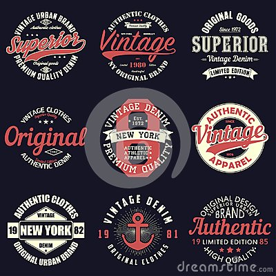 Free Vintage Original Typography Set. Retro Print For T-shirt Design. Graphics For Authentic Apparel. Collection Of Tee Shirt Badge. Stock Image - 112838181