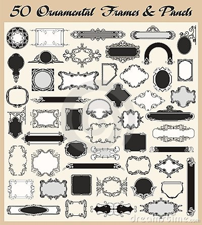 Vintage Ornamental Frames and Panels Vector  Set