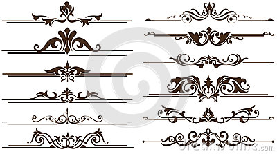 Vintage ornaments corners, borders design Vector Illustration