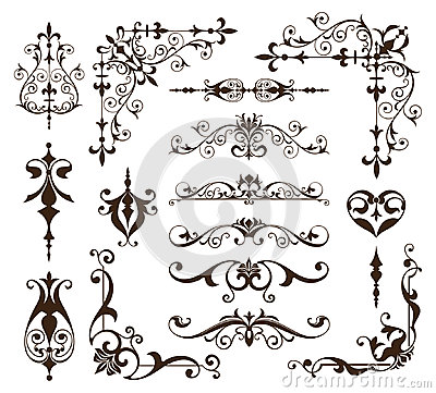 Free Vintage Ornaments Design Elements Floral Curlicues White Background Curbs Frame Corners Stickers Royalty Free Stock Image - 95761966